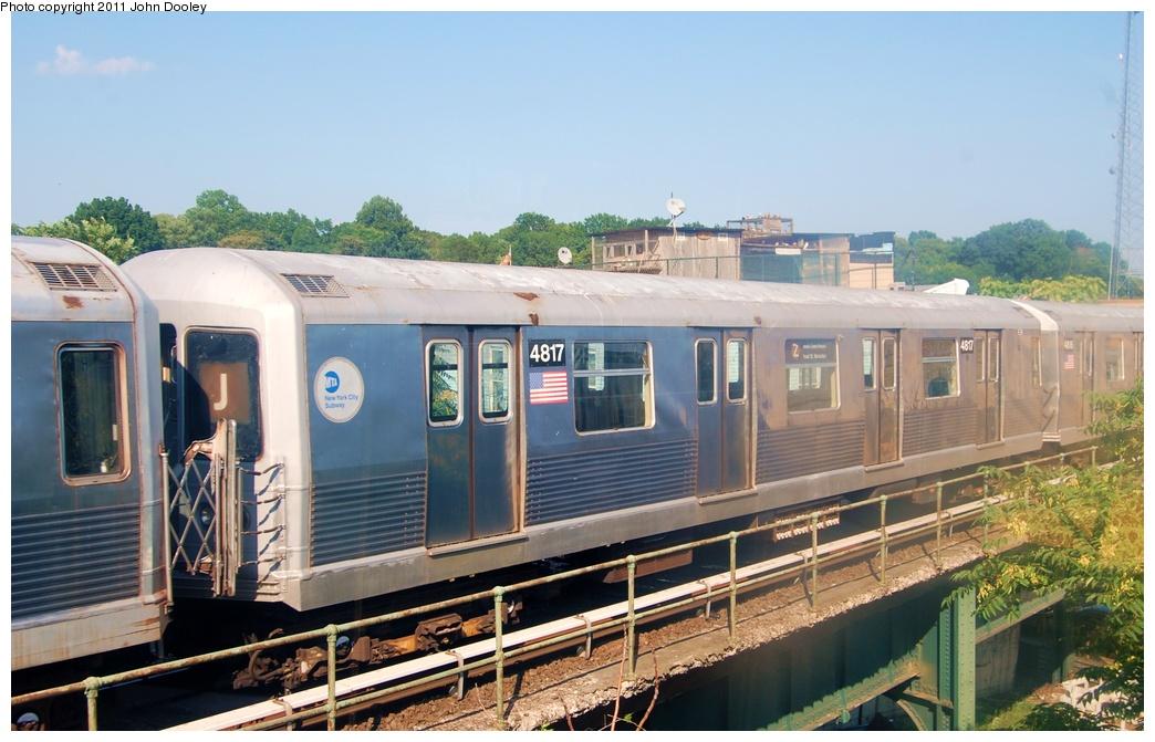 (296k, 1044x671)<br><b>Country:</b> United States<br><b>City:</b> New York<br><b>System:</b> New York City Transit<br><b>Location:</b> East New York Yard/Shops<br><b>Car:</b> R-42 (St. Louis, 1969-1970)  4817 <br><b>Photo by:</b> John Dooley<br><b>Date:</b> 8/17/2011<br><b>Viewed (this week/total):</b> 0 / 585