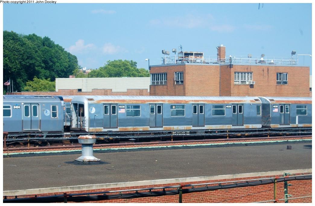 (331k, 1044x683)<br><b>Country:</b> United States<br><b>City:</b> New York<br><b>System:</b> New York City Transit<br><b>Location:</b> East New York Yard/Shops<br><b>Car:</b> R-42 (St. Louis, 1969-1970)  4838 <br><b>Photo by:</b> John Dooley<br><b>Date:</b> 8/17/2011<br><b>Viewed (this week/total):</b> 0 / 687