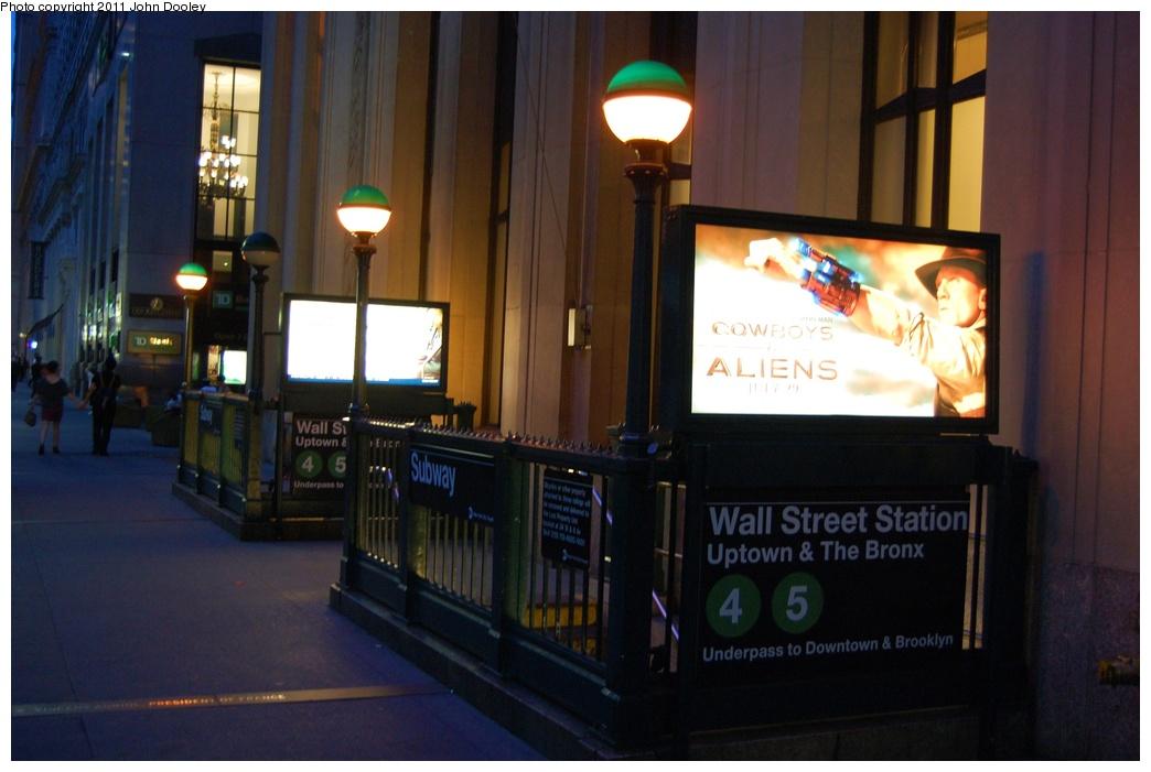 (254k, 1044x701)<br><b>Country:</b> United States<br><b>City:</b> New York<br><b>System:</b> New York City Transit<br><b>Line:</b> IRT East Side Line<br><b>Location:</b> Wall Street <br><b>Photo by:</b> John Dooley<br><b>Date:</b> 6/27/2011<br><b>Notes:</b> Station entrance.<br><b>Viewed (this week/total):</b> 1 / 1036