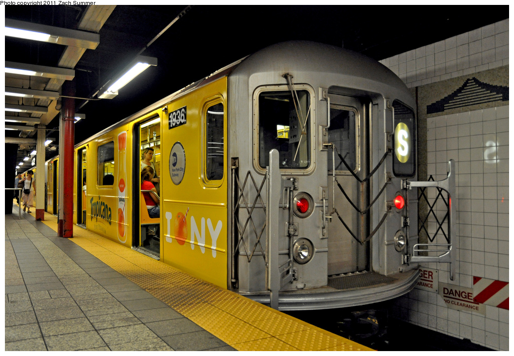 (382k, 1044x724)<br><b>Country:</b> United States<br><b>City:</b> New York<br><b>System:</b> New York City Transit<br><b>Line:</b> IRT Times Square-Grand Central Shuttle<br><b>Location:</b> Grand Central <br><b>Route:</b> S<br><b>Car:</b> R-62A (Bombardier, 1984-1987)  1936 <br><b>Photo by:</b> Zach Summer<br><b>Date:</b> 8/3/2011<br><b>Viewed (this week/total):</b> 1 / 822