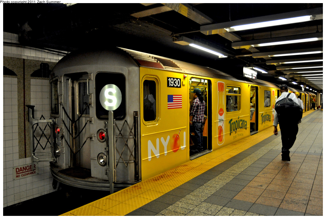 (363k, 1044x704)<br><b>Country:</b> United States<br><b>City:</b> New York<br><b>System:</b> New York City Transit<br><b>Line:</b> IRT Times Square-Grand Central Shuttle<br><b>Location:</b> Grand Central <br><b>Route:</b> S<br><b>Car:</b> R-62A (Bombardier, 1984-1987)  1930 <br><b>Photo by:</b> Zach Summer<br><b>Date:</b> 8/3/2011<br><b>Viewed (this week/total):</b> 0 / 817