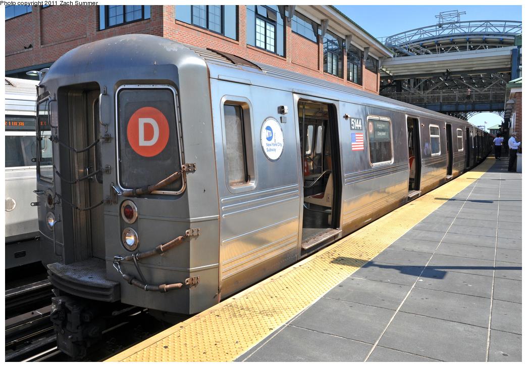 (426k, 1044x726)<br><b>Country:</b> United States<br><b>City:</b> New York<br><b>System:</b> New York City Transit<br><b>Location:</b> Coney Island/Stillwell Avenue<br><b>Route:</b> D<br><b>Car:</b> R-68A (Kawasaki, 1988-1989)  5144 <br><b>Photo by:</b> Zach Summer<br><b>Date:</b> 8/4/2011<br><b>Viewed (this week/total):</b> 3 / 1554