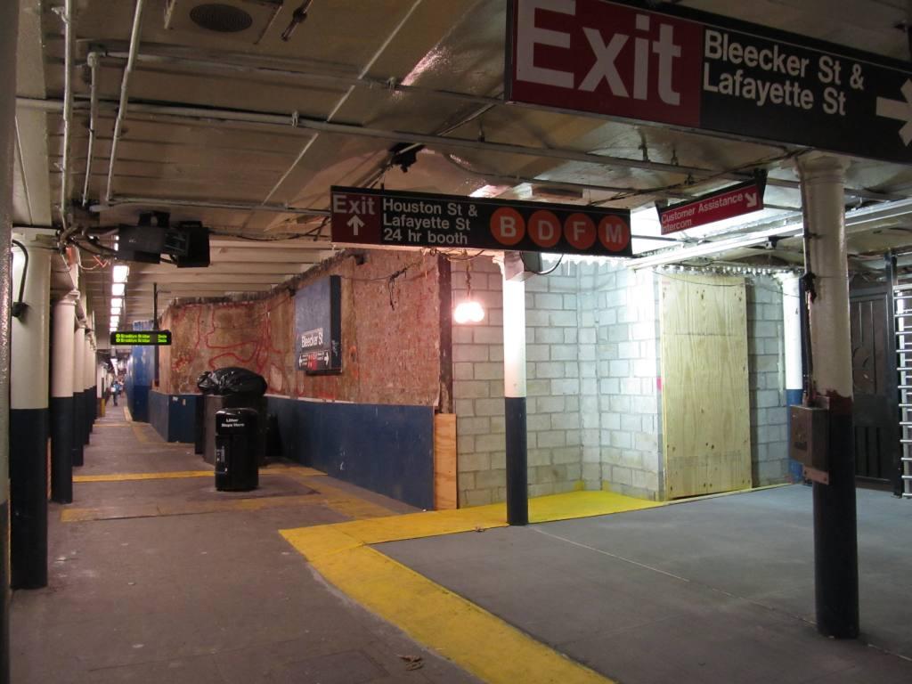 (100k, 1024x768)<br><b>Country:</b> United States<br><b>City:</b> New York<br><b>System:</b> New York City Transit<br><b>Line:</b> IRT East Side Line<br><b>Location:</b> Bleecker Street <br><b>Photo by:</b> Robbie Rosenfeld<br><b>Date:</b> 7/21/2011<br><b>Notes:</b> Station renovation<br><b>Viewed (this week/total):</b> 1 / 1897