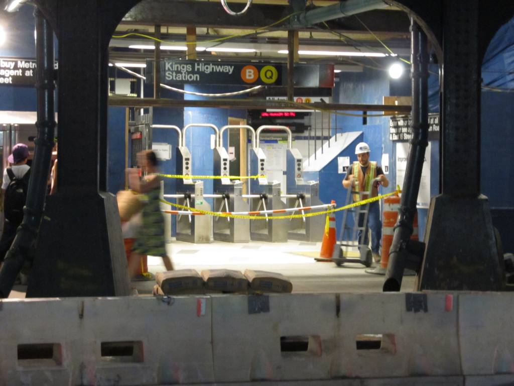 (92k, 1024x768)<br><b>Country:</b> United States<br><b>City:</b> New York<br><b>System:</b> New York City Transit<br><b>Line:</b> BMT Brighton Line<br><b>Location:</b> Kings Highway <br><b>Photo by:</b> Robbie Rosenfeld<br><b>Date:</b> 7/12/2011<br><b>Notes:</b> Station renovation<br><b>Viewed (this week/total):</b> 2 / 972