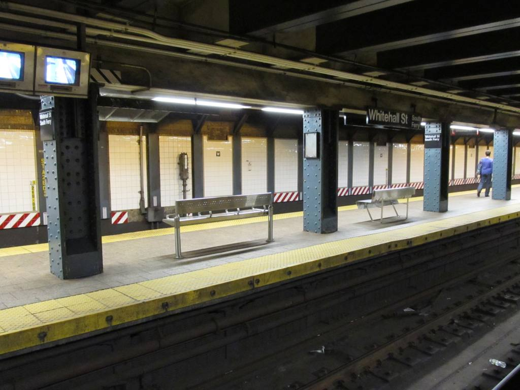 (104k, 1024x768)<br><b>Country:</b> United States<br><b>City:</b> New York<br><b>System:</b> New York City Transit<br><b>Line:</b> BMT Broadway Line<br><b>Location:</b> Whitehall Street <br><b>Photo by:</b> Robbie Rosenfeld<br><b>Date:</b> 7/14/2011<br><b>Notes:</b> New benches<br><b>Viewed (this week/total):</b> 0 / 905
