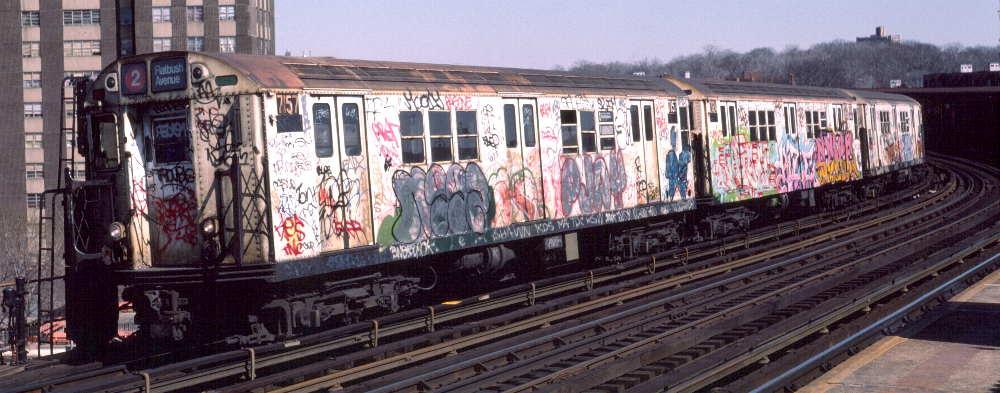 (68k, 1000x393)<br><b>Country:</b> United States<br><b>City:</b> New York<br><b>System:</b> New York City Transit<br><b>Line:</b> IRT White Plains Road Line<br><b>Location:</b> West Farms Sq./East Tremont Ave./177th St. <br><b>Route:</b> 2<br><b>Car:</b> R-21 (St. Louis, 1956-57) 7157 <br><b>Photo by:</b> Robert Callahan<br><b>Date:</b> 3/9/1985<br><b>Viewed (this week/total):</b> 0 / 990