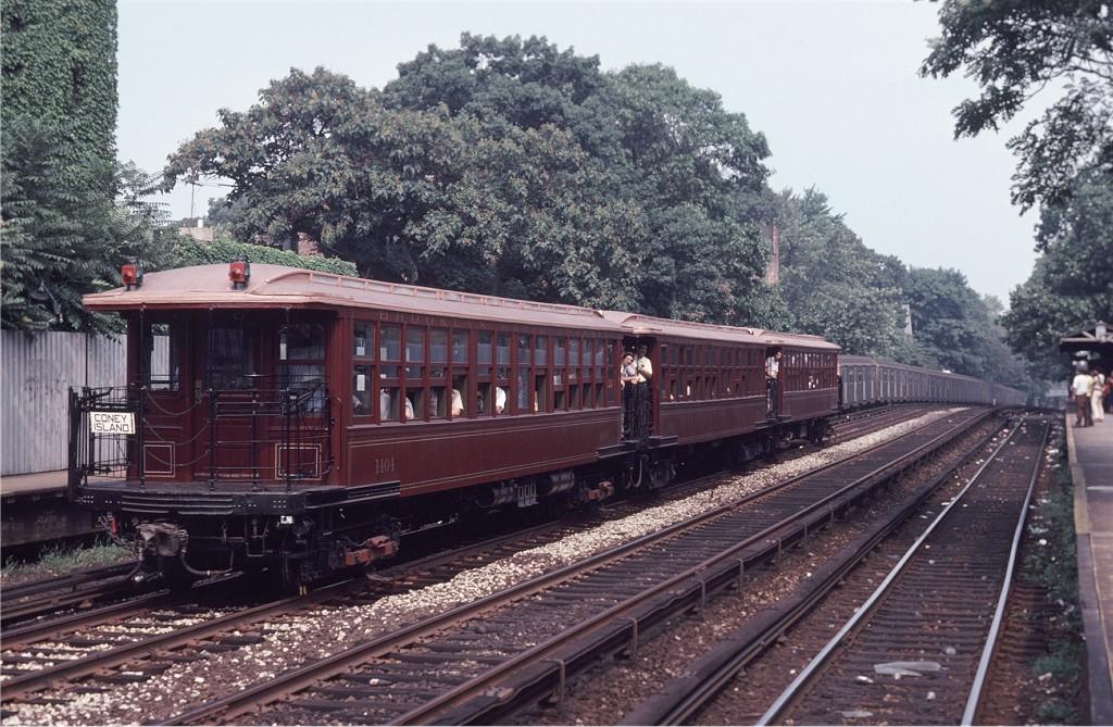 (241k, 1024x669)<br><b>Country:</b> United States<br><b>City:</b> New York<br><b>System:</b> New York City Transit<br><b>Line:</b> BMT Brighton Line<br><b>Location:</b> Avenue H <br><b>Route:</b> Fan Trip<br><b>Car:</b> BMT Elevated Gate Car 1404-1273-1407 <br><b>Photo by:</b> Steve Zabel<br><b>Collection of:</b> Joe Testagrose<br><b>Date:</b> 8/30/1980<br><b>Viewed (this week/total):</b> 0 / 855