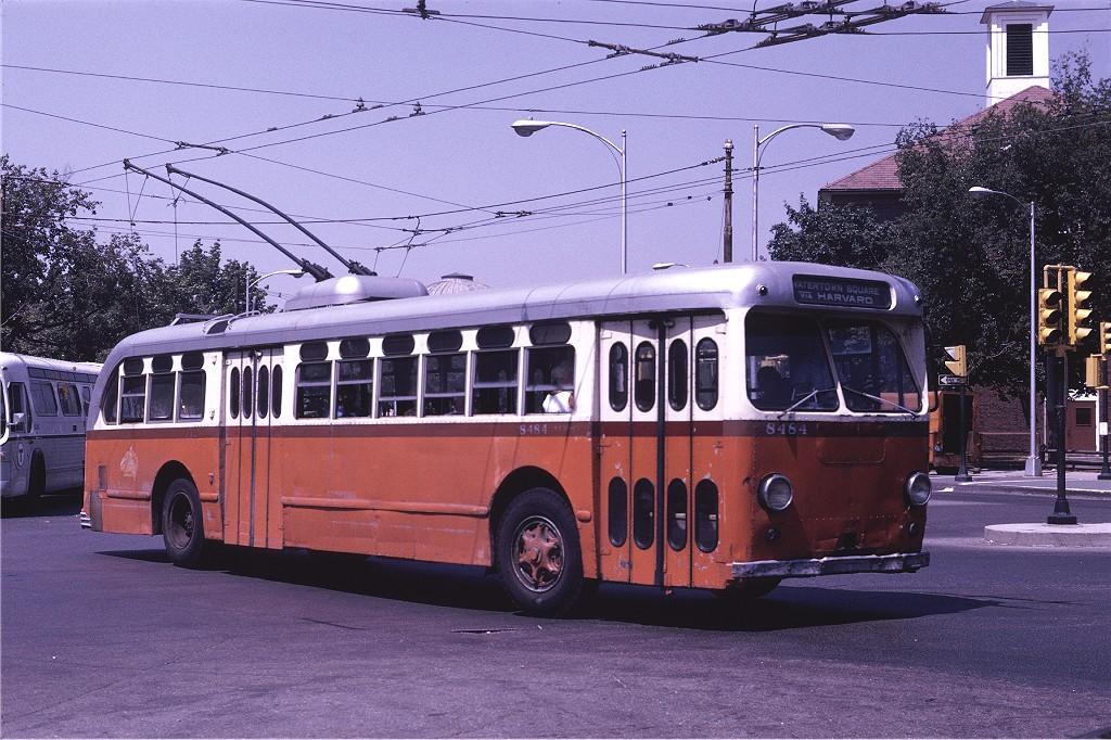 (245k, 1024x682)<br><b>Country:</b> United States<br><b>City:</b> Boston, MA<br><b>System:</b> MBTA Boston<br><b>Line:</b> MBTA Trolleybus (71,72,73)<br><b>Location:</b> Harvard Square<br><b>Car:</b> MBTA Trolleybus 8484 <br><b>Photo by:</b> Joe Testagrose<br><b>Date:</b> 8/10/1970<br><b>Viewed (this week/total):</b> 0 / 617