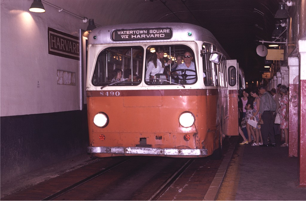 (165k, 1024x674)<br><b>Country:</b> United States<br><b>City:</b> Boston, MA<br><b>System:</b> MBTA Boston<br><b>Line:</b> MBTA Trolleybus (71,72,73)<br><b>Location:</b> Harvard Square<br><b>Car:</b> MBTA Trolleybus 8490 <br><b>Photo by:</b> Joe Testagrose<br><b>Date:</b> 8/10/1970<br><b>Viewed (this week/total):</b> 0 / 733