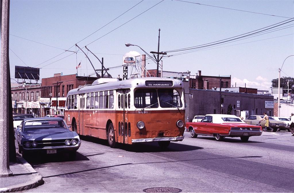 (234k, 1024x675)<br><b>Country:</b> United States<br><b>City:</b> Boston, MA<br><b>System:</b> MBTA Boston<br><b>Line:</b> MBTA Trolleybus (71,72,73)<br><b>Location:</b> Watertown Square (71)<br><b>Car:</b> MBTA Trolleybus 8491 <br><b>Photo by:</b> Joe Testagrose<br><b>Date:</b> 7/6/1972<br><b>Viewed (this week/total):</b> 0 / 629