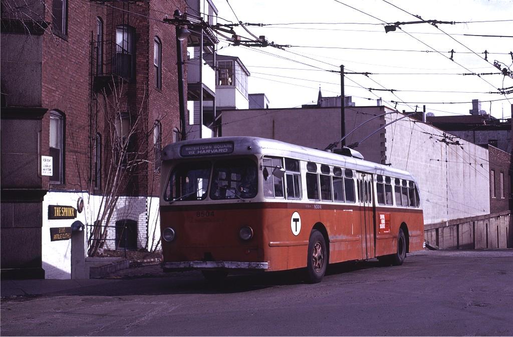 (209k, 1024x673)<br><b>Country:</b> United States<br><b>City:</b> Boston, MA<br><b>System:</b> MBTA Boston<br><b>Line:</b> MBTA Trolleybus (71,72,73)<br><b>Location:</b> Harvard Square<br><b>Car:</b> MBTA Trolleybus 8504 <br><b>Photo by:</b> Joe Testagrose<br><b>Date:</b> 3/6/1971<br><b>Viewed (this week/total):</b> 0 / 455