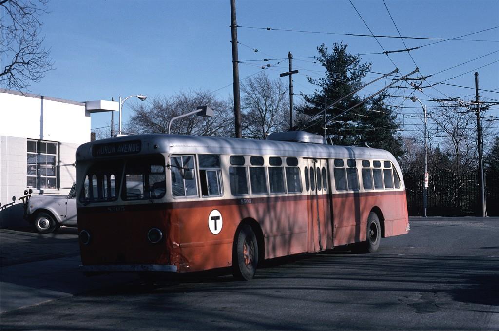(191k, 1024x679)<br><b>Country:</b> United States<br><b>City:</b> Boston, MA<br><b>System:</b> MBTA Boston<br><b>Line:</b> MBTA Trolleybus (71,72,73)<br><b>Location:</b> Watertown Square (71)<br><b>Car:</b> MBTA Trolleybus 8505 <br><b>Photo by:</b> Steve Zabel<br><b>Collection of:</b> Joe Testagrose<br><b>Date:</b> 3/28/1975<br><b>Viewed (this week/total):</b> 1 / 533