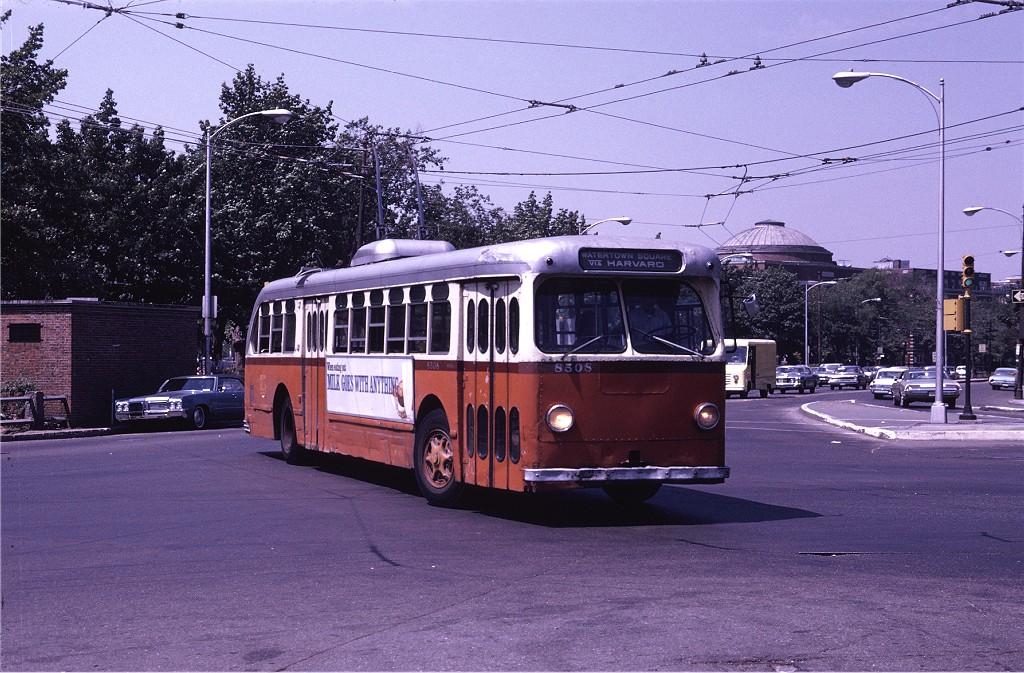 (234k, 1024x673)<br><b>Country:</b> United States<br><b>City:</b> Boston, MA<br><b>System:</b> MBTA Boston<br><b>Line:</b> MBTA Trolleybus (71,72,73)<br><b>Location:</b> Harvard Square<br><b>Car:</b> MBTA Trolleybus 8508 <br><b>Photo by:</b> Joe Testagrose<br><b>Date:</b> 8/10/1970<br><b>Viewed (this week/total):</b> 4 / 591