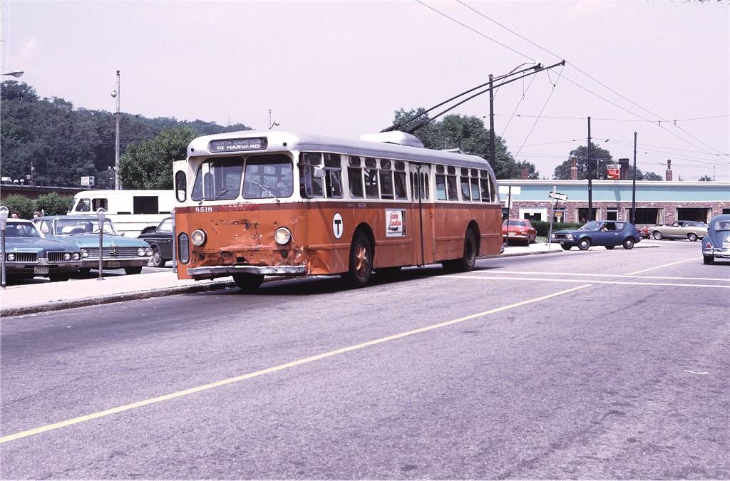 (224k, 1024x675)<br><b>Country:</b> United States<br><b>City:</b> Boston, MA<br><b>System:</b> MBTA Boston<br><b>Line:</b> MBTA Trolleybus (71,72,73)<br><b>Location:</b> Waverly Square (73)<br><b>Car:</b> MBTA Trolleybus 8518 <br><b>Photo by:</b> Doug Grotjahn<br><b>Collection of:</b> Joe Testagrose<br><b>Date:</b> 7/7/1972<br><b>Viewed (this week/total):</b> 0 / 473