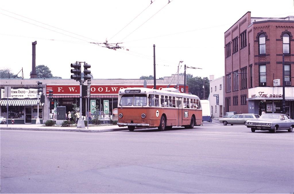 (165k, 1024x676)<br><b>Country:</b> United States<br><b>City:</b> Boston, MA<br><b>System:</b> MBTA Boston<br><b>Line:</b> MBTA Trolleybus (71,72,73)<br><b>Location:</b> Watertown Square (71)<br><b>Car:</b> MBTA Trolleybus 8521 <br><b>Photo by:</b> Joe Testagrose<br><b>Date:</b> 7/3/1972<br><b>Viewed (this week/total):</b> 1 / 643