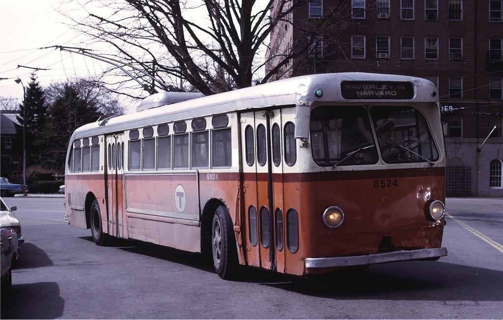 (212k, 1024x653)<br><b>Country:</b> United States<br><b>City:</b> Boston, MA<br><b>System:</b> MBTA Boston<br><b>Line:</b> MBTA Trolleybus (71,72,73)<br><b>Car:</b> MBTA Trolleybus 8524 <br><b>Photo by:</b> Ed McKernan<br><b>Collection of:</b> Joe Testagrose<br><b>Date:</b> 3/1975<br><b>Viewed (this week/total):</b> 1 / 428