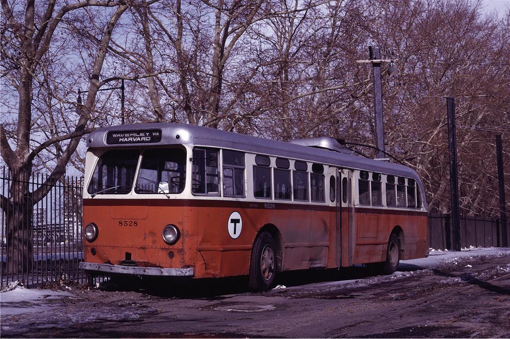 (323k, 1024x680)<br><b>Country:</b> United States<br><b>City:</b> Boston, MA<br><b>System:</b> MBTA Boston<br><b>Line:</b> MBTA Trolleybus (71,72,73)<br><b>Location:</b> Harvard Square<br><b>Car:</b> MBTA Trolleybus 8528 <br><b>Photo by:</b> Joe Testagrose<br><b>Date:</b> 3/6/1971<br><b>Viewed (this week/total):</b> 1 / 542