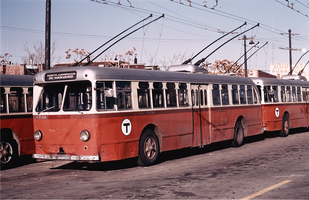 (238k, 1024x664)<br><b>Country:</b> United States<br><b>City:</b> Boston, MA<br><b>System:</b> MBTA Boston<br><b>Line:</b> MBTA Trolleybus (71,72,73)<br><b>Location:</b> North Cambridge Car House<br><b>Car:</b> MBTA Trolleybus 8530 <br><b>Photo by:</b> Joe Testagrose<br><b>Date:</b> 11/16/1971<br><b>Viewed (this week/total):</b> 0 / 622