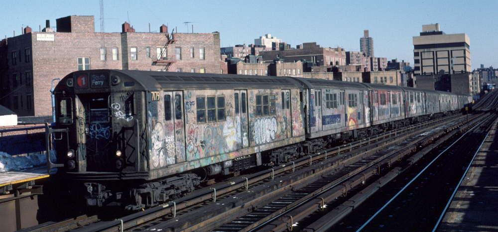 (70k, 1000x466)<br><b>Country:</b> United States<br><b>City:</b> New York<br><b>System:</b> New York City Transit<br><b>Line:</b> IRT West Side Line<br><b>Location:</b> 207th Street <br><b>Route:</b> 1<br><b>Car:</b> R-21 (St. Louis, 1956-57) 7179 <br><b>Photo by:</b> Robert Callahan<br><b>Date:</b> 2/10/1985<br><b>Viewed (this week/total):</b> 0 / 925