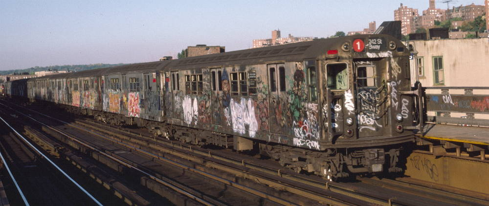 (69k, 1000x422)<br><b>Country:</b> United States<br><b>City:</b> New York<br><b>System:</b> New York City Transit<br><b>Line:</b> IRT West Side Line<br><b>Location:</b> 231st Street <br><b>Route:</b> 1<br><b>Car:</b> R-21 (St. Louis, 1956-57) 7184 <br><b>Photo by:</b> Robert Callahan<br><b>Date:</b> 10/11/1984<br><b>Viewed (this week/total):</b> 0 / 1055
