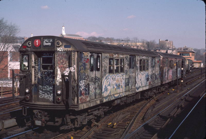 (63k, 800x540)<br><b>Country:</b> United States<br><b>City:</b> New York<br><b>System:</b> New York City Transit<br><b>Line:</b> IRT West Side Line<br><b>Location:</b> 238th Street <br><b>Route:</b> 1<br><b>Car:</b> R-21 (St. Louis, 1956-57) 7185 <br><b>Photo by:</b> Robert Callahan<br><b>Date:</b> 2/16/1985<br><b>Viewed (this week/total):</b> 2 / 1013