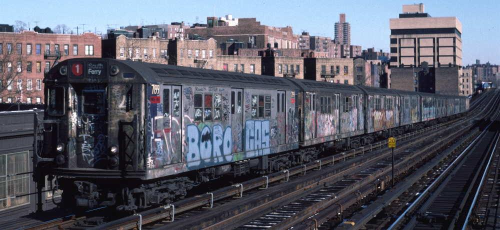 (68k, 1000x460)<br><b>Country:</b> United States<br><b>City:</b> New York<br><b>System:</b> New York City Transit<br><b>Line:</b> IRT West Side Line<br><b>Location:</b> 207th Street <br><b>Route:</b> 1<br><b>Car:</b> R-21 (St. Louis, 1956-57) 7199 <br><b>Photo by:</b> Robert Callahan<br><b>Date:</b> 2/10/1985<br><b>Viewed (this week/total):</b> 0 / 1000