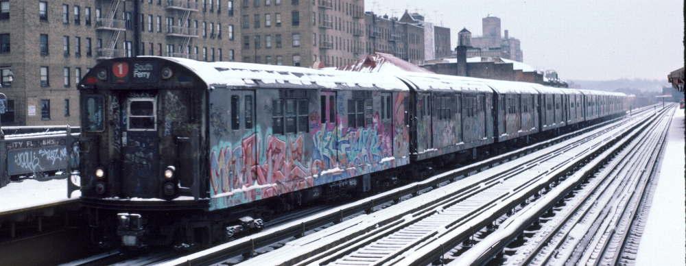 (64k, 1000x388)<br><b>Country:</b> United States<br><b>City:</b> New York<br><b>System:</b> New York City Transit<br><b>Line:</b> IRT West Side Line<br><b>Location:</b> 231st Street <br><b>Route:</b> 1<br><b>Car:</b> R-21 (St. Louis, 1956-57) 7201 <br><b>Photo by:</b> Robert Callahan<br><b>Date:</b> 2/2/1985<br><b>Viewed (this week/total):</b> 0 / 1009