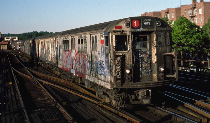 (65k, 800x468)<br><b>Country:</b> United States<br><b>City:</b> New York<br><b>System:</b> New York City Transit<br><b>Line:</b> IRT West Side Line<br><b>Location:</b> 238th Street <br><b>Route:</b> 1<br><b>Car:</b> R-21 (St. Louis, 1956-57) 7205 <br><b>Photo by:</b> Robert Callahan<br><b>Date:</b> 9/21/1984<br><b>Viewed (this week/total):</b> 1 / 1031