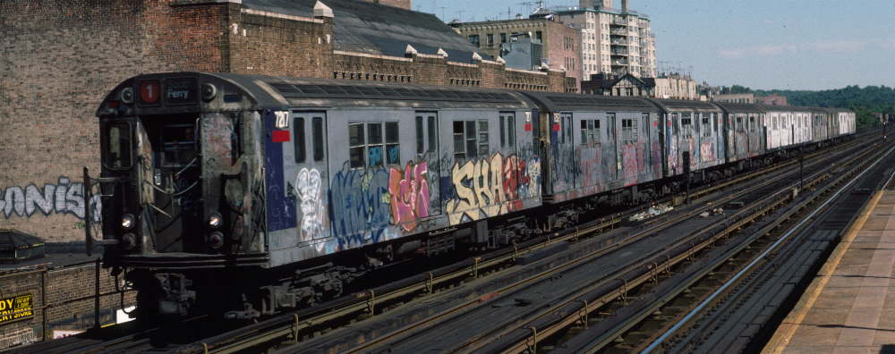(68k, 1000x396)<br><b>Country:</b> United States<br><b>City:</b> New York<br><b>System:</b> New York City Transit<br><b>Line:</b> IRT West Side Line<br><b>Location:</b> 231st Street <br><b>Route:</b> 1<br><b>Car:</b> R-21 (St. Louis, 1956-57) 7217 <br><b>Photo by:</b> Robert Callahan<br><b>Date:</b> 9/22/1984<br><b>Viewed (this week/total):</b> 3 / 894