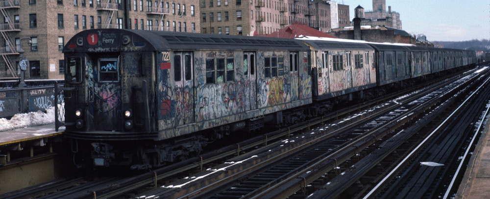 (63k, 1000x407)<br><b>Country:</b> United States<br><b>City:</b> New York<br><b>System:</b> New York City Transit<br><b>Line:</b> IRT West Side Line<br><b>Location:</b> 231st Street <br><b>Route:</b> 1<br><b>Car:</b> R-21 (St. Louis, 1956-57) 7221 <br><b>Photo by:</b> Robert Callahan<br><b>Date:</b> 2/9/1985<br><b>Viewed (this week/total):</b> 0 / 823