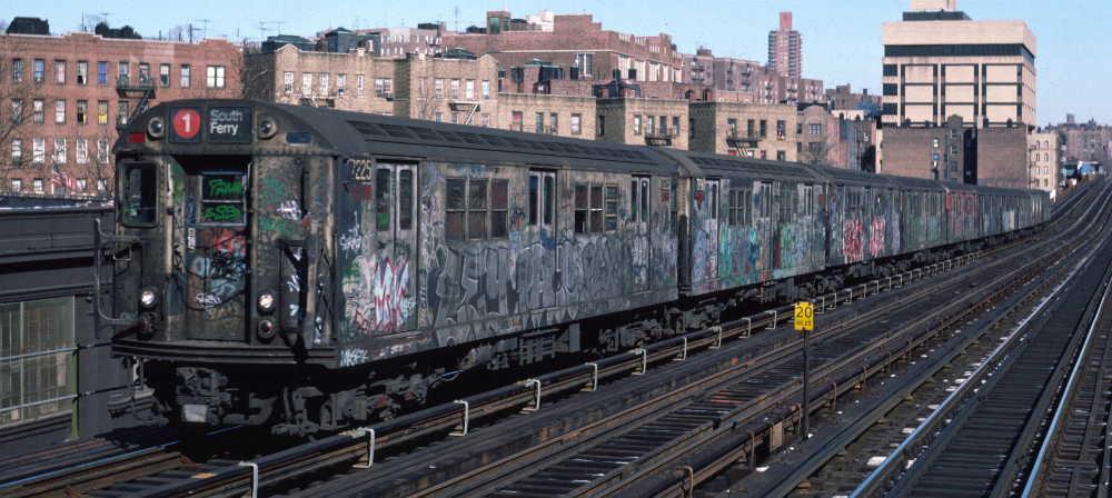 (67k, 1000x448)<br><b>Country:</b> United States<br><b>City:</b> New York<br><b>System:</b> New York City Transit<br><b>Line:</b> IRT West Side Line<br><b>Location:</b> 207th Street <br><b>Route:</b> 1<br><b>Car:</b> R-21 (St. Louis, 1956-57) 7225 <br><b>Photo by:</b> Robert Callahan<br><b>Date:</b> 2/10/1985<br><b>Viewed (this week/total):</b> 7 / 914