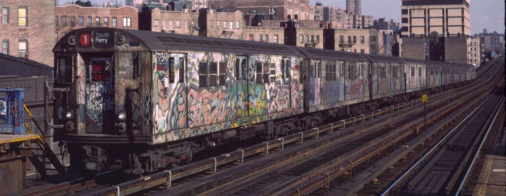(66k, 1000x388)<br><b>Country:</b> United States<br><b>City:</b> New York<br><b>System:</b> New York City Transit<br><b>Line:</b> IRT West Side Line<br><b>Location:</b> 207th Street <br><b>Route:</b> 1<br><b>Car:</b> R-21 (St. Louis, 1956-57) 7236 <br><b>Photo by:</b> Robert Callahan<br><b>Date:</b> 2/16/1985<br><b>Viewed (this week/total):</b> 3 / 1083