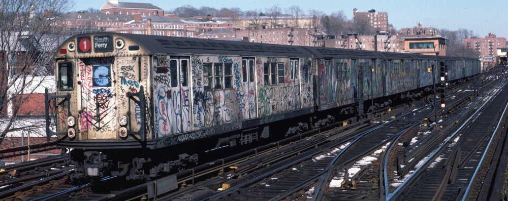 (66k, 1000x397)<br><b>Country:</b> United States<br><b>City:</b> New York<br><b>System:</b> New York City Transit<br><b>Line:</b> IRT West Side Line<br><b>Location:</b> 238th Street <br><b>Route:</b> 1<br><b>Car:</b> R-21 (St. Louis, 1956-57) 7238 <br><b>Photo by:</b> Robert Callahan<br><b>Date:</b> 2/10/1985<br><b>Viewed (this week/total):</b> 4 / 1110