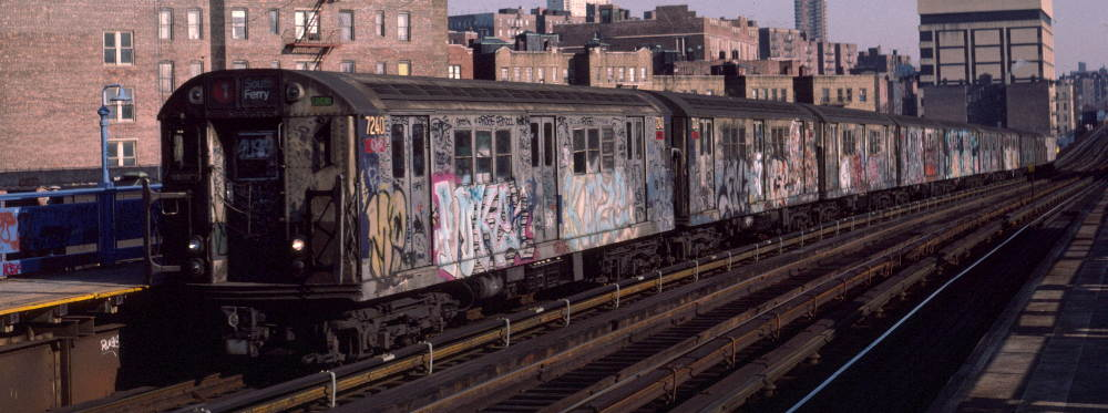 (68k, 1000x373)<br><b>Country:</b> United States<br><b>City:</b> New York<br><b>System:</b> New York City Transit<br><b>Line:</b> IRT West Side Line<br><b>Location:</b> 207th Street <br><b>Route:</b> 1<br><b>Car:</b> R-21 (St. Louis, 1956-57) 7240 <br><b>Photo by:</b> Robert Callahan<br><b>Date:</b> 2/16/1985<br><b>Viewed (this week/total):</b> 2 / 855