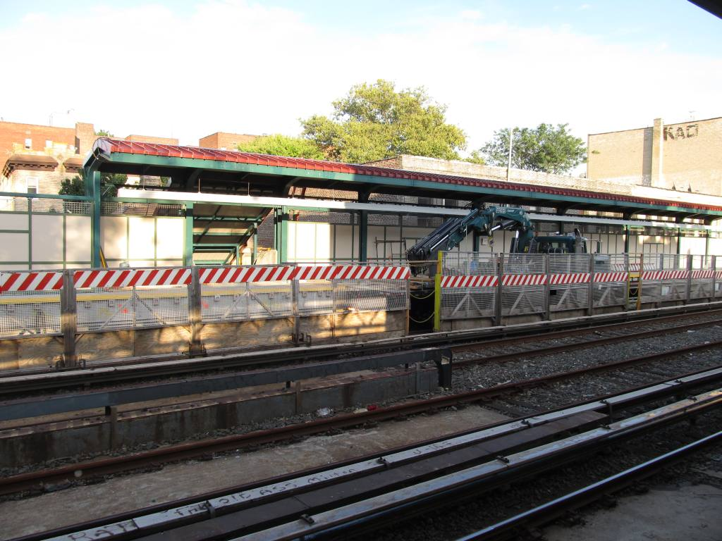 (134k, 1024x768)<br><b>Country:</b> United States<br><b>City:</b> New York<br><b>System:</b> New York City Transit<br><b>Line:</b> BMT Brighton Line<br><b>Location:</b> Avenue H <br><b>Photo by:</b> Robbie Rosenfeld<br><b>Date:</b> 8/16/2011<br><b>Notes:</b> Station reconstruction<br><b>Viewed (this week/total):</b> 0 / 820