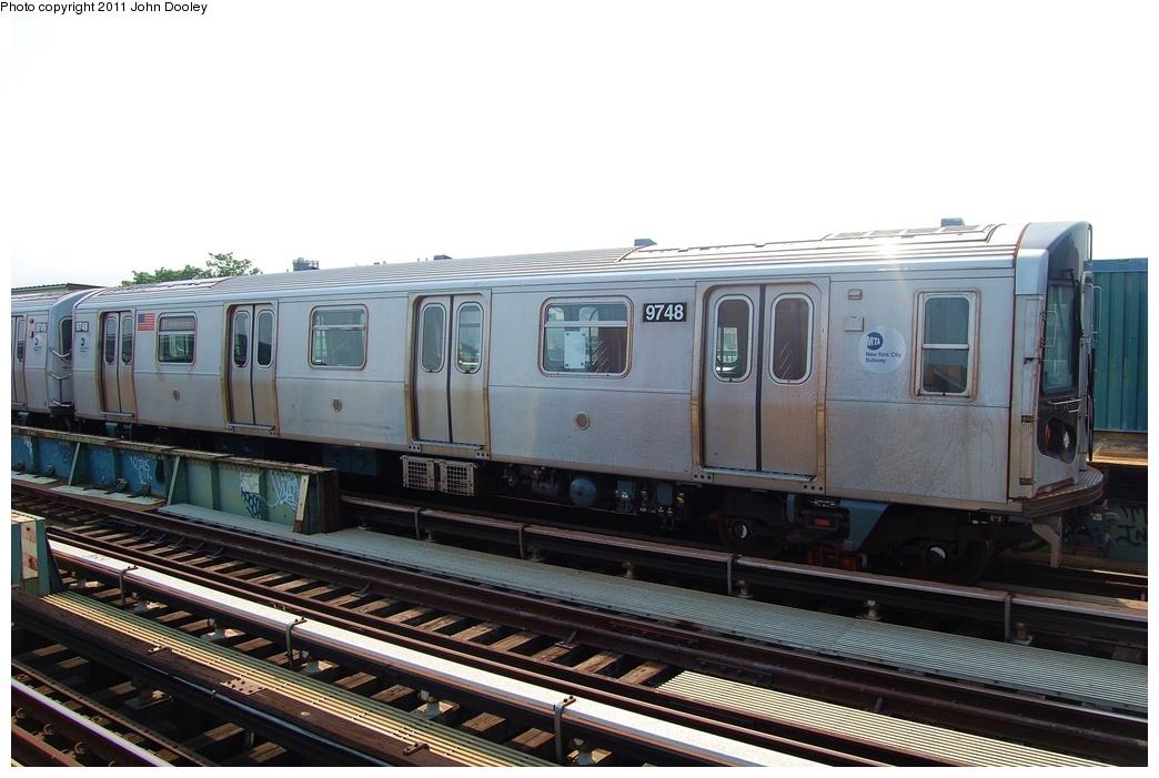 (270k, 1044x701)<br><b>Country:</b> United States<br><b>City:</b> New York<br><b>System:</b> New York City Transit<br><b>Line:</b> BMT Culver Line<br><b>Location:</b> Avenue U <br><b>Route:</b> F<br><b>Car:</b> R-160A (Option 2) (Alstom, 2009, 5-car sets)  9748 <br><b>Photo by:</b> John Dooley<br><b>Date:</b> 7/20/2011<br><b>Viewed (this week/total):</b> 0 / 1047