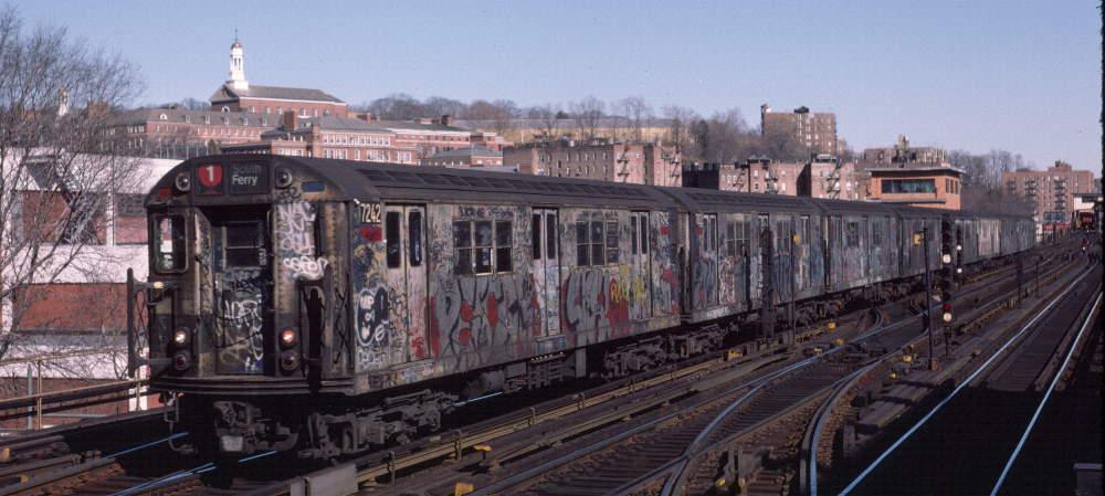 (70k, 1000x449)<br><b>Country:</b> United States<br><b>City:</b> New York<br><b>System:</b> New York City Transit<br><b>Line:</b> IRT West Side Line<br><b>Location:</b> 238th Street <br><b>Route:</b> 1<br><b>Car:</b> R-21 (St. Louis, 1956-57) 7242 <br><b>Photo by:</b> Robert Callahan<br><b>Date:</b> 2/18/1985<br><b>Viewed (this week/total):</b> 0 / 827