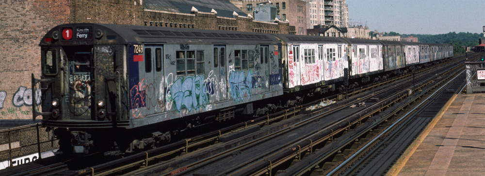 (68k, 1000x364)<br><b>Country:</b> United States<br><b>City:</b> New York<br><b>System:</b> New York City Transit<br><b>Line:</b> IRT West Side Line<br><b>Location:</b> 231st Street <br><b>Route:</b> 1<br><b>Car:</b> R-21 (St. Louis, 1956-57) 7249 <br><b>Photo by:</b> Robert Callahan<br><b>Date:</b> 9/22/1984<br><b>Viewed (this week/total):</b> 0 / 910