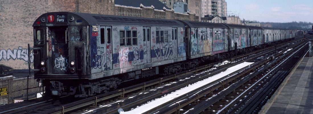 (71k, 1100x401)<br><b>Country:</b> United States<br><b>City:</b> New York<br><b>System:</b> New York City Transit<br><b>Line:</b> IRT West Side Line<br><b>Location:</b> 231st Street <br><b>Route:</b> 1<br><b>Car:</b> R-21 (St. Louis, 1956-57) 7256 <br><b>Photo by:</b> Robert Callahan<br><b>Date:</b> 2/9/1985<br><b>Viewed (this week/total):</b> 2 / 641