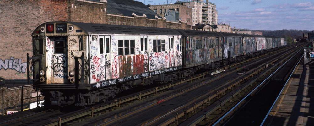 (69k, 1000x401)<br><b>Country:</b> United States<br><b>City:</b> New York<br><b>System:</b> New York City Transit<br><b>Line:</b> IRT West Side Line<br><b>Location:</b> 231st Street<br><b>Route:</b> 1<br><b>Car:</b> R-21 (St. Louis, 1956-57) 7275 <br><b>Photo by:</b> Robert Callahan<br><b>Date:</b> 11/17/1984<br><b>Viewed (this week/total):</b> 1 / 1330