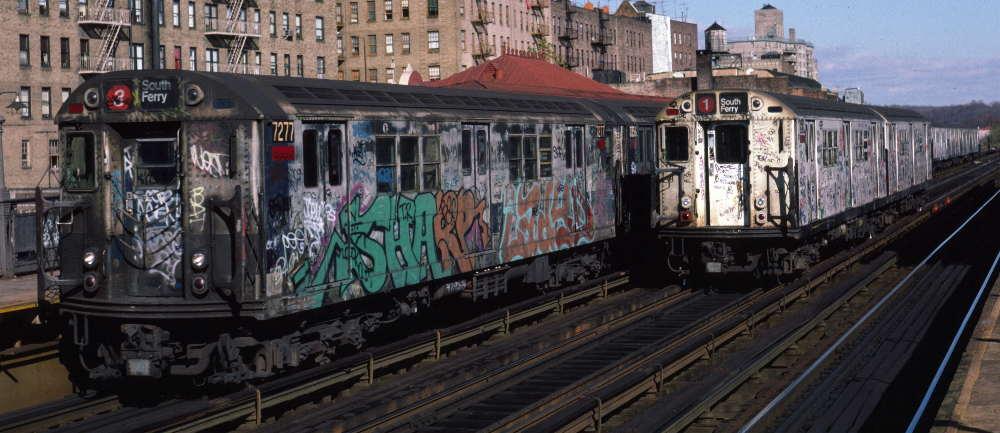 (69k, 1000x433)<br><b>Country:</b> United States<br><b>City:</b> New York<br><b>System:</b> New York City Transit<br><b>Line:</b> IRT West Side Line<br><b>Location:</b> 231st Street <br><b>Route:</b> 1<br><b>Car:</b> R-21 (St. Louis, 1956-57) 7277 <br><b>Photo by:</b> Robert Callahan<br><b>Date:</b> 11/17/1984<br><b>Viewed (this week/total):</b> 6 / 1208