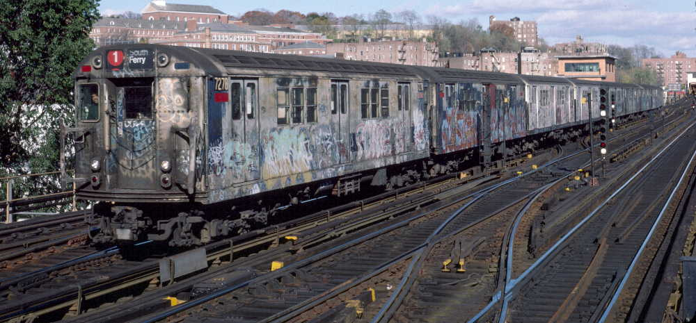 (74k, 1000x465)<br><b>Country:</b> United States<br><b>City:</b> New York<br><b>System:</b> New York City Transit<br><b>Line:</b> IRT West Side Line<br><b>Location:</b> 238th Street <br><b>Route:</b> 1<br><b>Car:</b> R-21 (St. Louis, 1956-57) 7278 <br><b>Photo by:</b> Robert Callahan<br><b>Date:</b> 11/17/1984<br><b>Viewed (this week/total):</b> 6 / 974