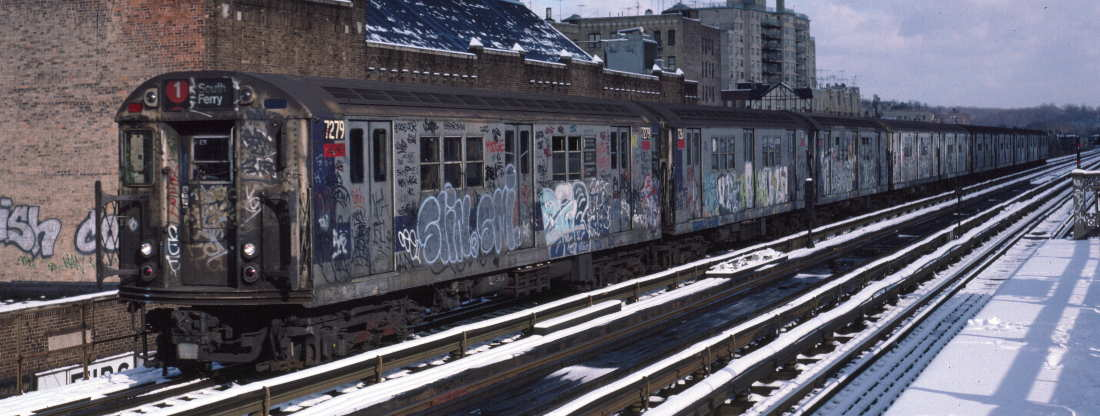 (71k, 1100x416)<br><b>Country:</b> United States<br><b>City:</b> New York<br><b>System:</b> New York City Transit<br><b>Line:</b> IRT West Side Line<br><b>Location:</b> 231st Street <br><b>Route:</b> 1<br><b>Car:</b> R-21 (St. Louis, 1956-57) 7279 <br><b>Photo by:</b> Robert Callahan<br><b>Date:</b> 1/5/1985<br><b>Viewed (this week/total):</b> 1 / 680