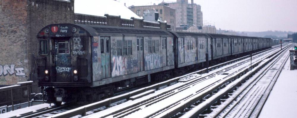 (69k, 1000x397)<br><b>Country:</b> United States<br><b>City:</b> New York<br><b>System:</b> New York City Transit<br><b>Line:</b> IRT West Side Line<br><b>Location:</b> 231st Street <br><b>Route:</b> 1<br><b>Car:</b> R-21 (St. Louis, 1956-57) 7279 <br><b>Photo by:</b> Robert Callahan<br><b>Date:</b> 2/2/1985<br><b>Viewed (this week/total):</b> 1 / 785