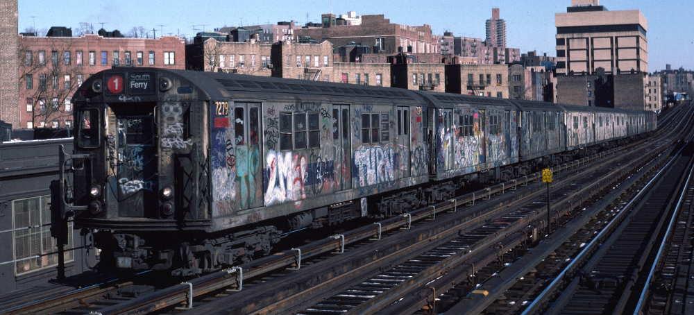 (70k, 1000x454)<br><b>Country:</b> United States<br><b>City:</b> New York<br><b>System:</b> New York City Transit<br><b>Line:</b> IRT West Side Line<br><b>Location:</b> 207th Street <br><b>Route:</b> 1<br><b>Car:</b> R-21 (St. Louis, 1956-57) 7279 <br><b>Photo by:</b> Robert Callahan<br><b>Date:</b> 2/10/1985<br><b>Viewed (this week/total):</b> 4 / 1056