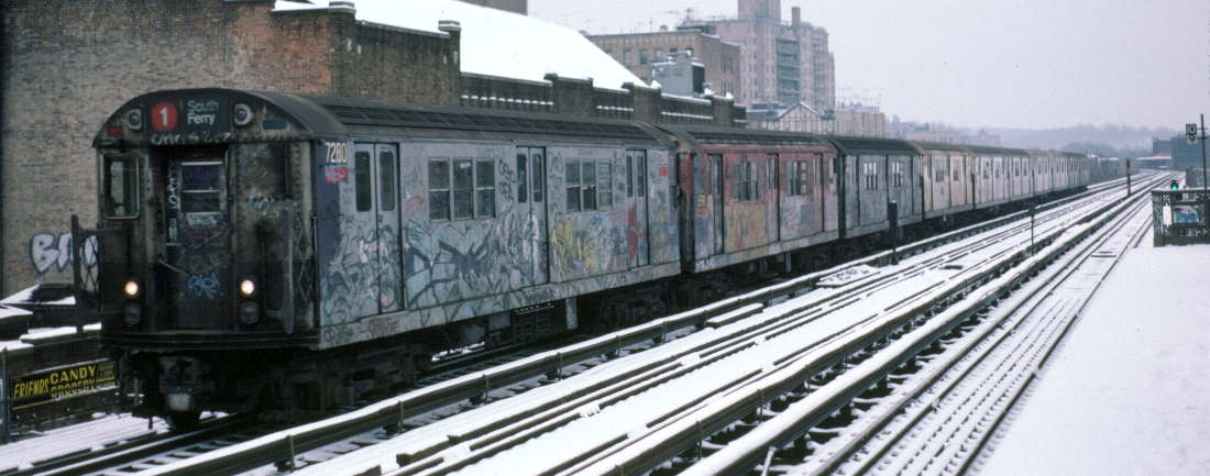 (70k, 1100x433)<br><b>Country:</b> United States<br><b>City:</b> New York<br><b>System:</b> New York City Transit<br><b>Line:</b> IRT West Side Line<br><b>Location:</b> 231st Street <br><b>Route:</b> 1<br><b>Car:</b> R-21 (St. Louis, 1956-57) 7280 <br><b>Photo by:</b> Robert Callahan<br><b>Date:</b> 2/2/1985<br><b>Viewed (this week/total):</b> 0 / 748
