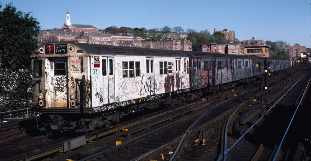(75k, 1000x520)<br><b>Country:</b> United States<br><b>City:</b> New York<br><b>System:</b> New York City Transit<br><b>Line:</b> IRT West Side Line<br><b>Location:</b> 238th Street <br><b>Route:</b> 1<br><b>Car:</b> R-21 (St. Louis, 1956-57) 7283 <br><b>Photo by:</b> Robert Callahan<br><b>Date:</b> 11/3/1984<br><b>Viewed (this week/total):</b> 6 / 874