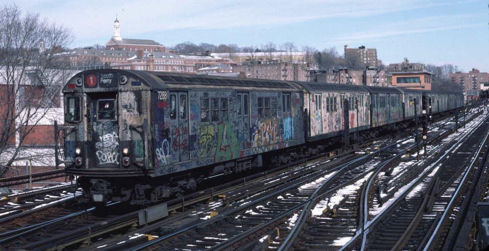 (75k, 1000x514)<br><b>Country:</b> United States<br><b>City:</b> New York<br><b>System:</b> New York City Transit<br><b>Line:</b> IRT West Side Line<br><b>Location:</b> 238th Street <br><b>Route:</b> 1<br><b>Car:</b> R-21 (St. Louis, 1956-57) 7288 <br><b>Photo by:</b> Robert Callahan<br><b>Date:</b> 2/9/1985<br><b>Viewed (this week/total):</b> 2 / 859