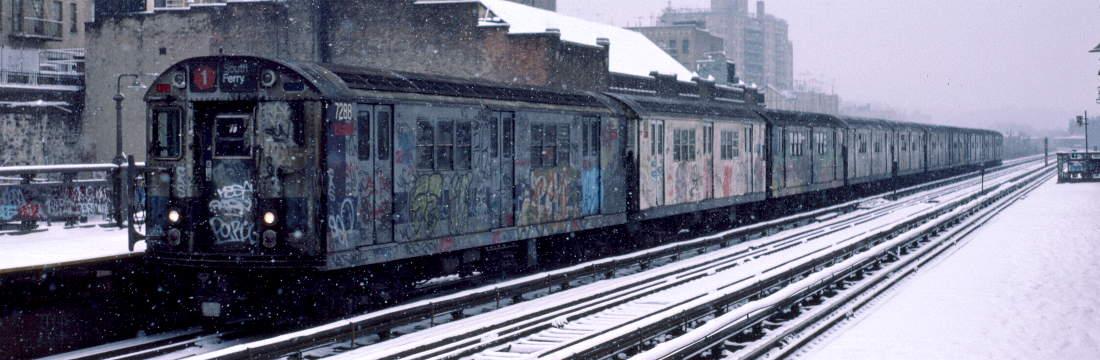 (68k, 1100x360)<br><b>Country:</b> United States<br><b>City:</b> New York<br><b>System:</b> New York City Transit<br><b>Line:</b> IRT West Side Line<br><b>Location:</b> 231st Street <br><b>Route:</b> 1<br><b>Car:</b> R-21 (St. Louis, 1956-57) 7288 <br><b>Photo by:</b> Robert Callahan<br><b>Date:</b> 2/2/1985<br><b>Viewed (this week/total):</b> 1 / 808