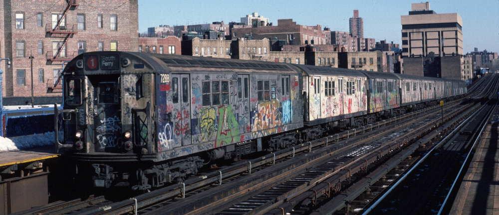 (68k, 1000x431)<br><b>Country:</b> United States<br><b>City:</b> New York<br><b>System:</b> New York City Transit<br><b>Line:</b> IRT West Side Line<br><b>Location:</b> 207th Street <br><b>Route:</b> 1<br><b>Car:</b> R-21 (St. Louis, 1956-57) 7288 <br><b>Photo by:</b> Robert Callahan<br><b>Date:</b> 2/10/1985<br><b>Viewed (this week/total):</b> 0 / 909